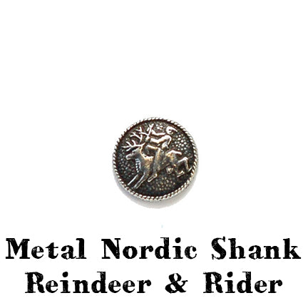 metal nordic button with shank reindeer and rider