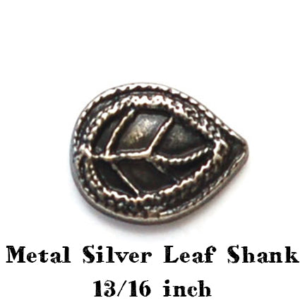 metal silver leaf button with shank 13/16 inch