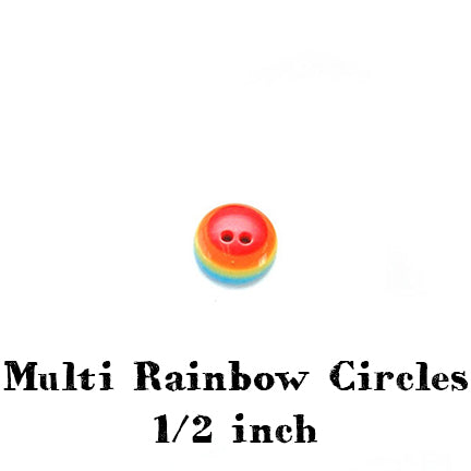 multi rainbow circles button 1/2 inch