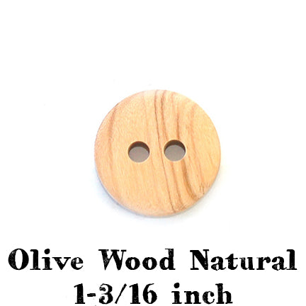 Olive wood natural button 1-3/16 inches