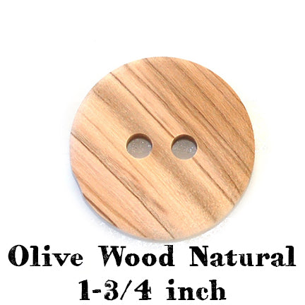 olive wood natural button 1-3/4 inches
