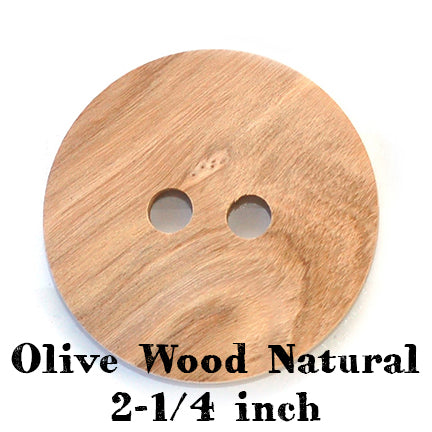 Olive wood natural button 2-1/4 inches