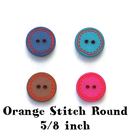 orange stitch round button 5/8 inch main