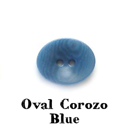 oval corozo button blue