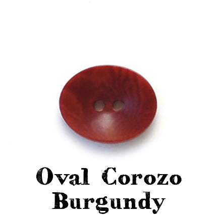 oval corozo button burgundy