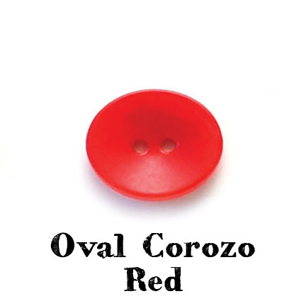 oval corozo button red