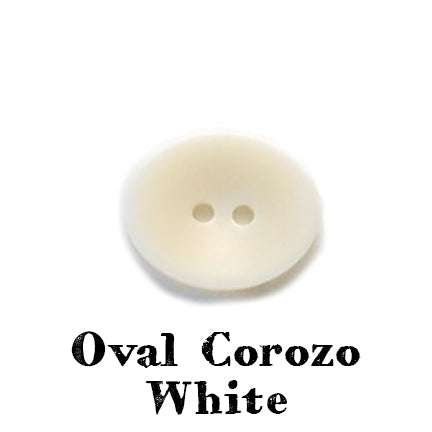 oval corozo button white