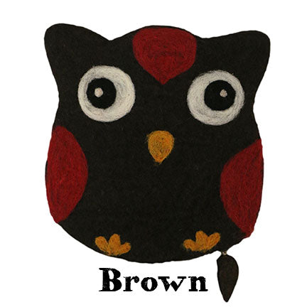 felt owl bag brown