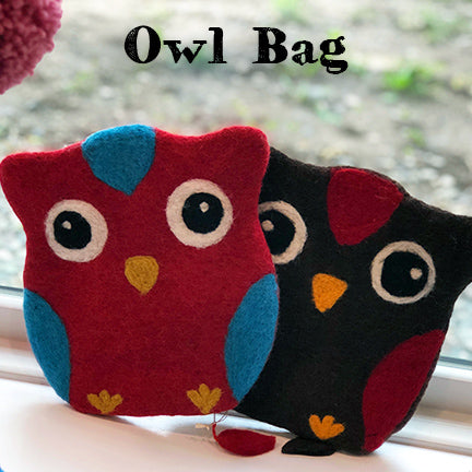 Frabjous Fibers felt owl bag main