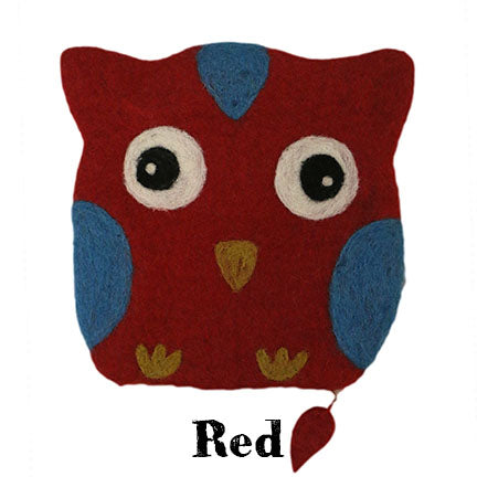 felt owl bag red