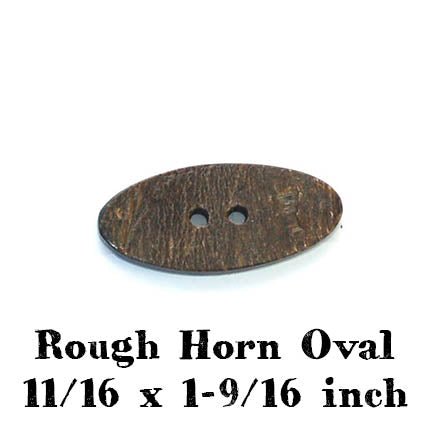 rough horn oval button 11/16 x 1-9/16 inches