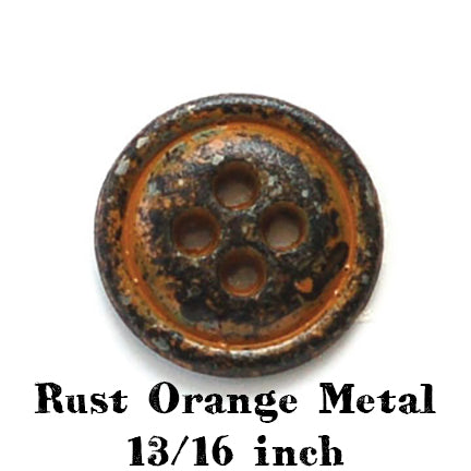 rust orange metal button 13/16 inch
