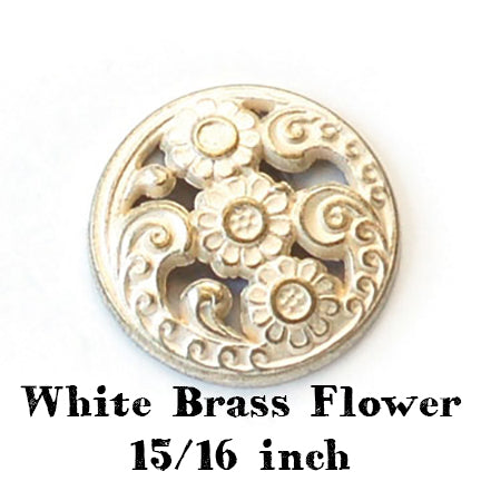 white brass flower button with shank 15/16 inch