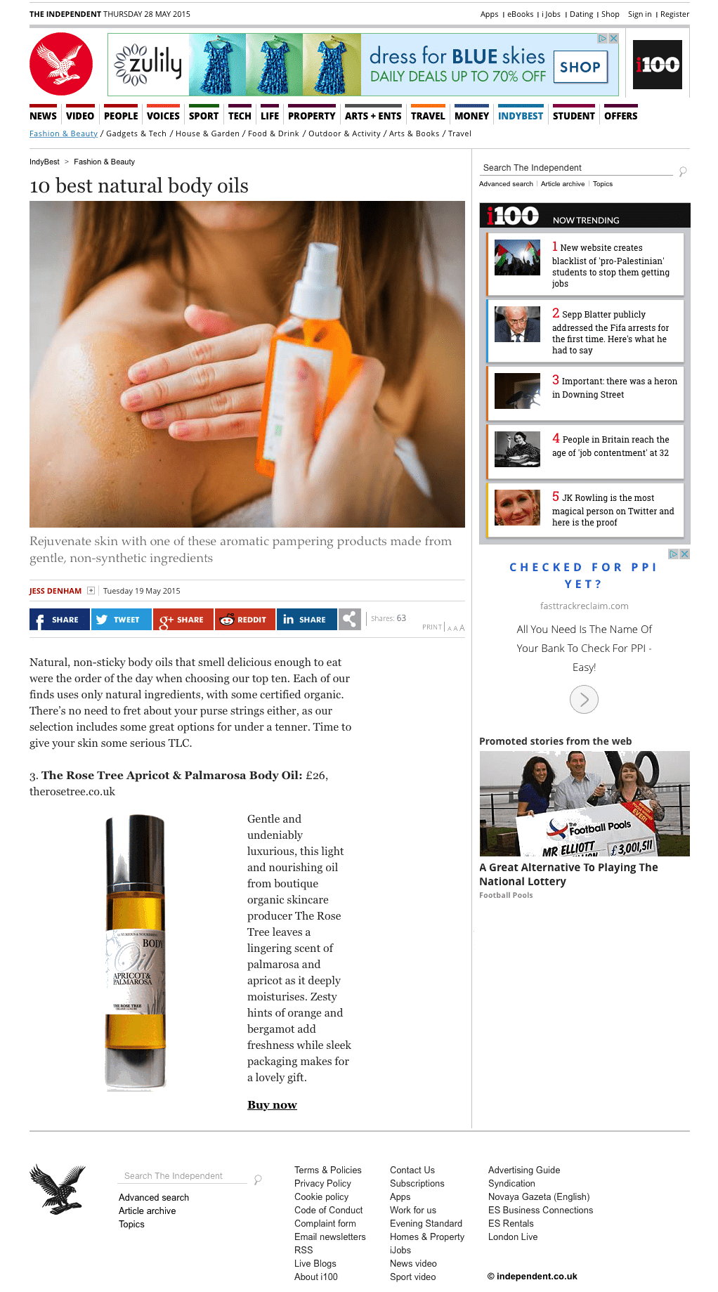 The Independent - 10 Best Natural Body Oils