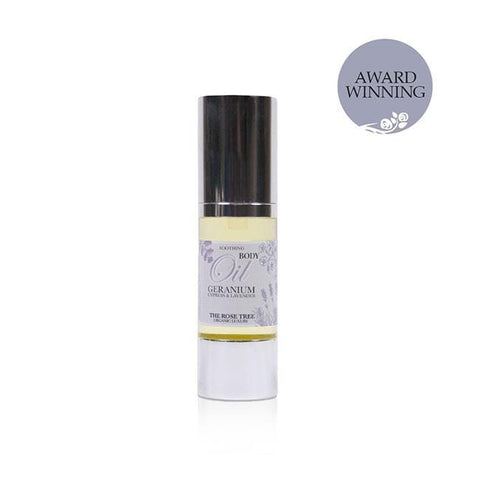 www.therosetree.co.uk Body Care Soothing Body Oil with Geranium, Cypress & Lavender - Travel Size