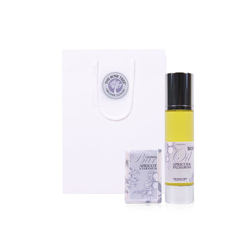 Organic Gift Set - Apricot, Geranium Cleansing Bar & Apricot Palmarosa Body Oil