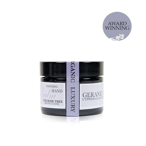 www.therosetree.co.uk Body Care Soothing Aromatherapy Hand Balm with Geranium, Cypress & Lavender