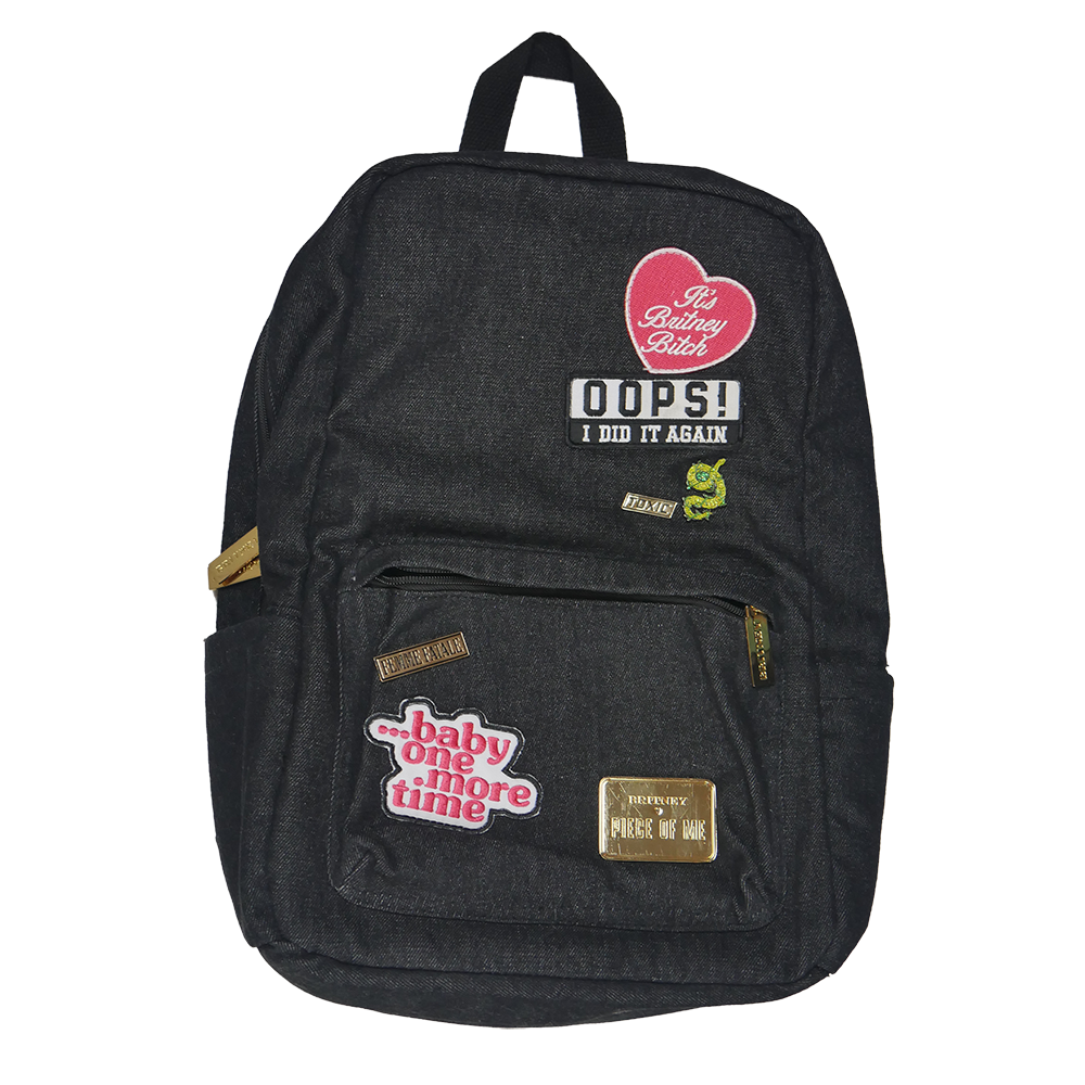 Black Denim Patch Backpack