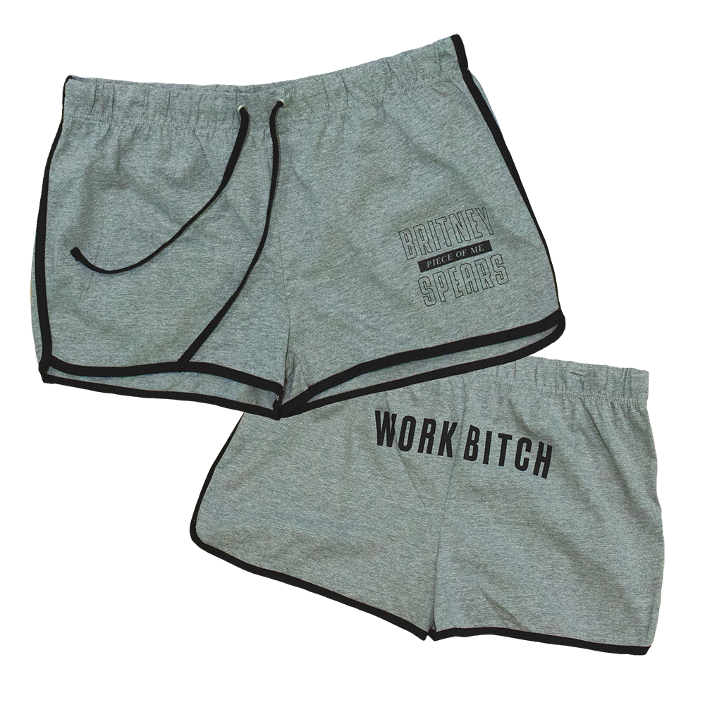 Work Bitch Retro Grey Shorts