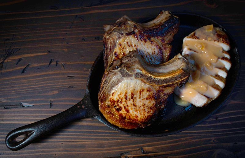 Seared Pork Chops with Brandied Guava Pan Sauce