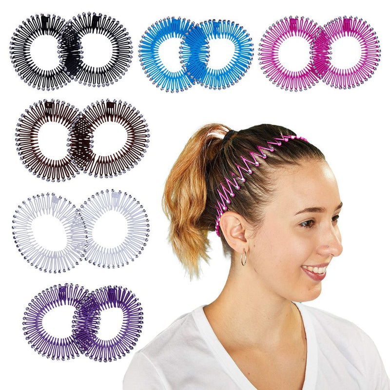 Rhinestone Zig Zag Circle Headbands with Teeth for Women's Hair (6 Colors, 12 Pack)