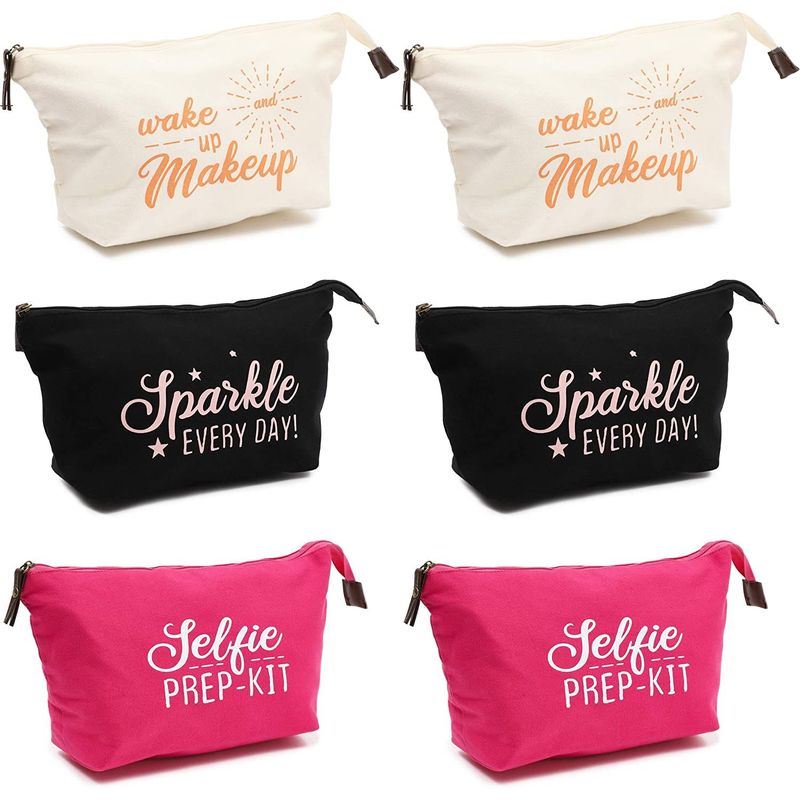 6 Pack Cotton Canvas Inspirational Makeup Pouch Bags with Zippers (12 x 3.5 In)