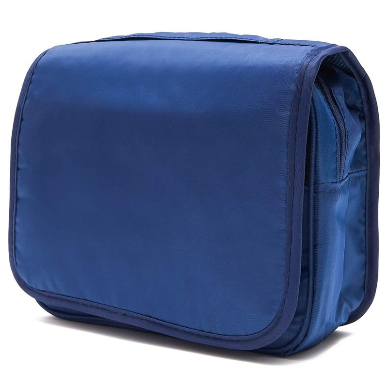 Navy Blue Hanging Toiletry Travel Bag for Bathroom Supplies (9.5 x 7.5 x 3.7 In)