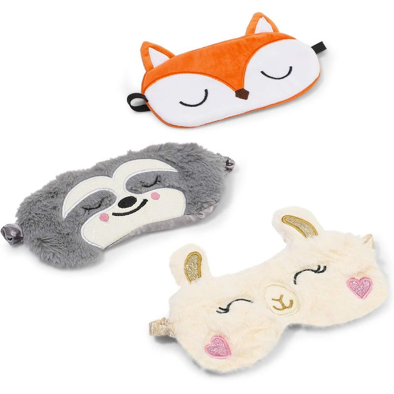 Animal Sleep Eye Mask Set for Kids with Sloth, Llama, and Fox (7.5 x H 5.5 In, 3 Pack)