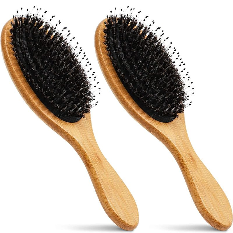 Boar Bristle Hair Brushes with Bamboo Handles (2 Pack)