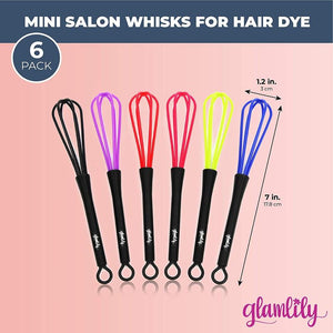 Mini Whisks for Hair Dye Color Mixing (7 x 1.2 In, 6-Pack)