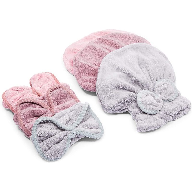 3 Microfiber Hair Drying Towel Bonnets and 3 Bow Headbands for Women (6 Pieces)