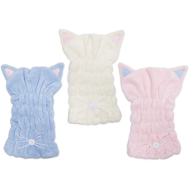 Microfiber Hair Drying Cap, Bonnet with Cat Ears (3 Colors, 3 Pack)