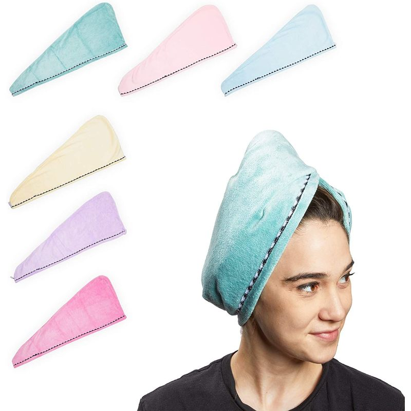 Microfiber Hair Drying Towel Wrap, Hair Wrap Caps in 6 Colors (6 Pack)