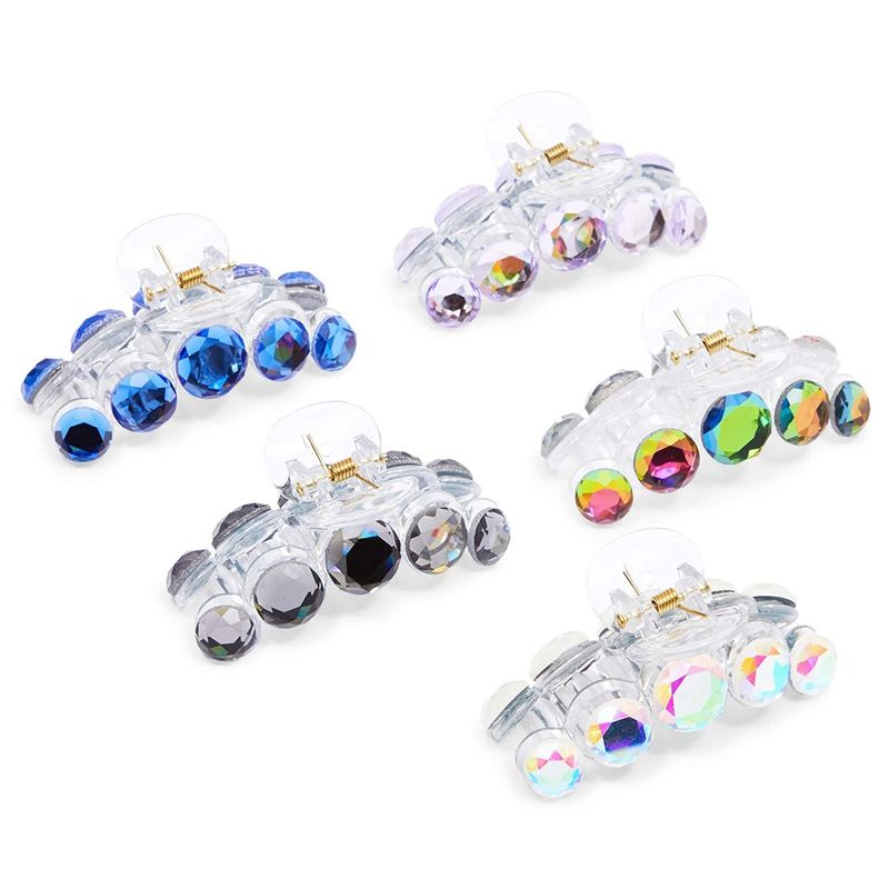 Rhinestone Hair Clips Accessories for Women, Girls, Teens (5 Colors, 5 Pieces)