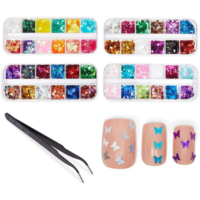 Nail Art Butterfly Sequins Kit with Tweezers (Holographic Colors, 48 Designs)
