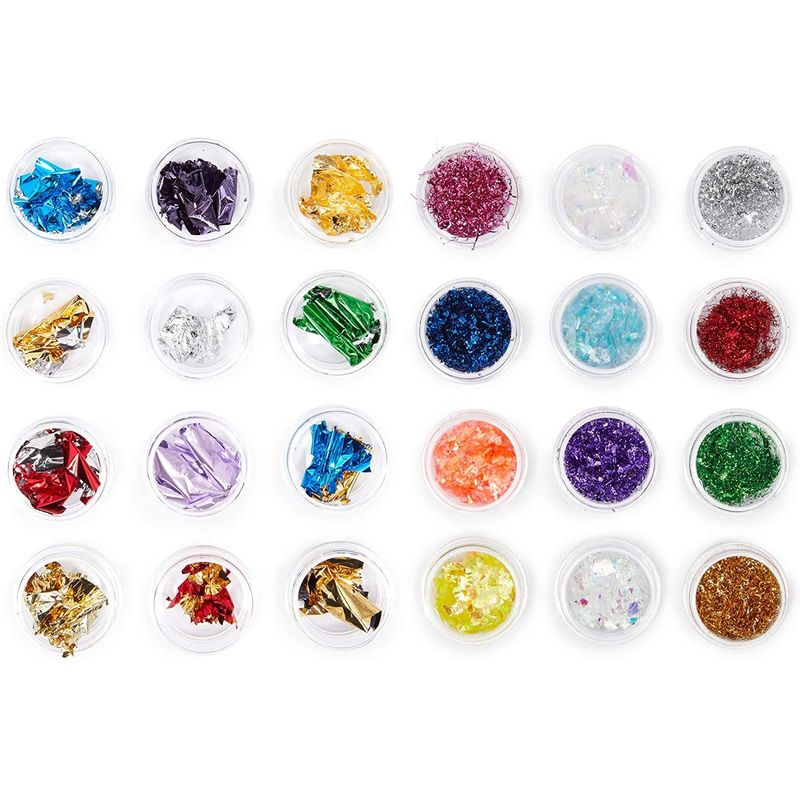 Nail Art Foil Flakes for Women's Manicure (Assorted Colors, 24 Pack)