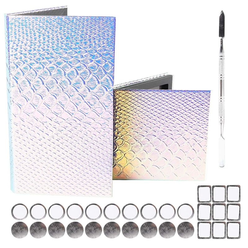 2 Magnetic Eyeshadow Palettes, 1 Spatula, 40 Metal Stickers (43 Pieces)