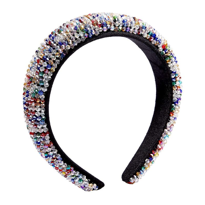 Beaded Rhinestone Padded Headband, Accessories for Women (6 x 6.5 x 1.5 Inches)