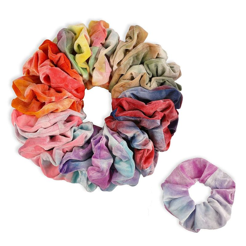 Tie Dye Velvet Scrunchies, Hair Ties for Women (6 Colors, 24 Pack)