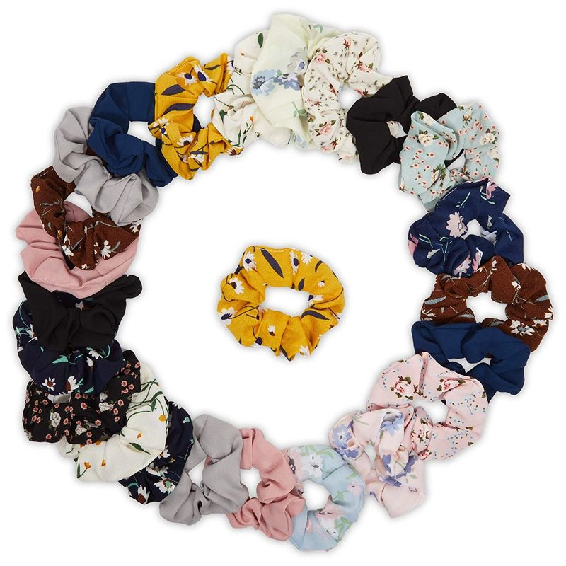 Flower Hair Scrunchies for Women (2.5 Inches, 24 Pack)