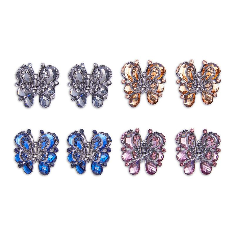 Butterfly Hair Clips for Women, Rhinestone Claw Accessories (8 Pack)