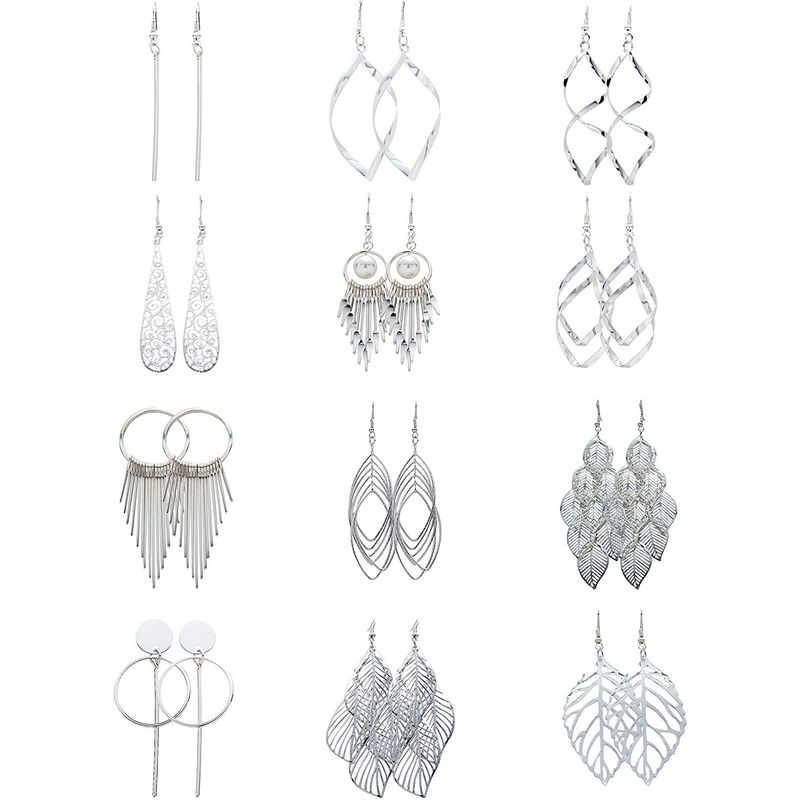 Dangle Earrings Set for Woman, Bohemian Jewelry (Silver, 12 Pairs)