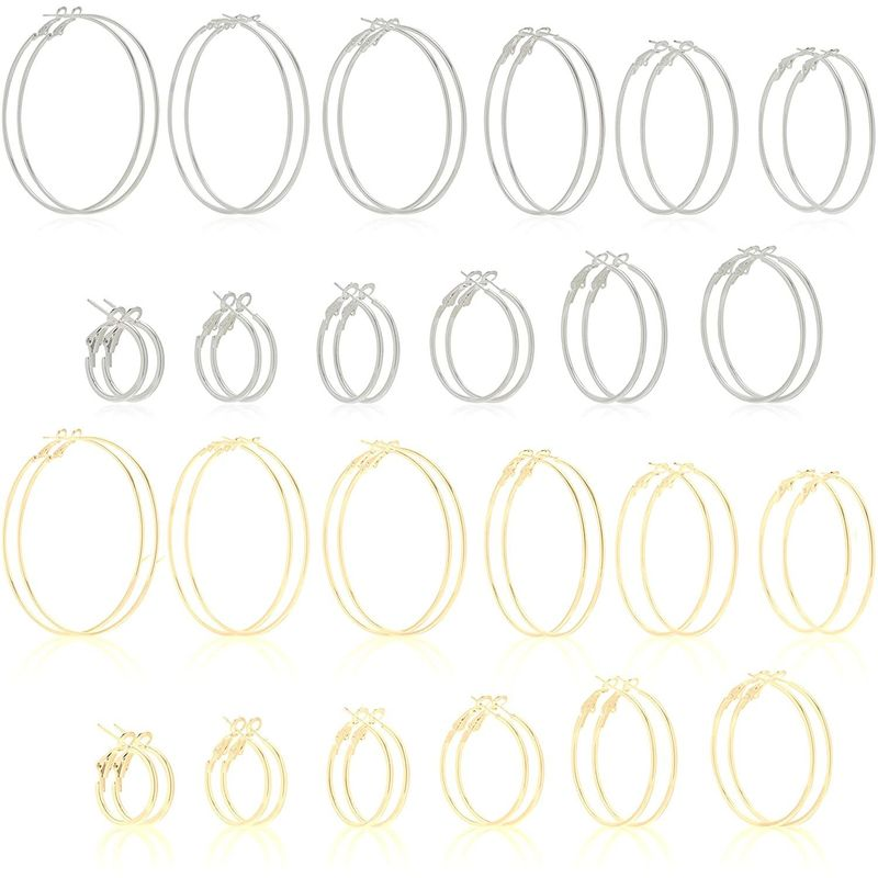 Hoop Earrings Set for Women (Gold, Silver, 24 Pairs)