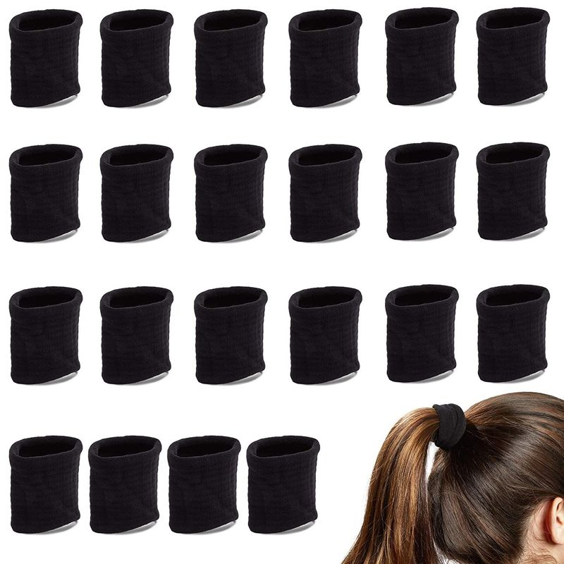 Thick Hair Ties for Women, Wide Ponytail Holders (Black, 24 Pack)