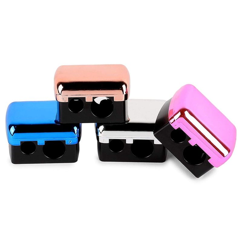 Eye Pencil Sharpener, Dual Sided (4 Metallic Colors, 4 Pack)