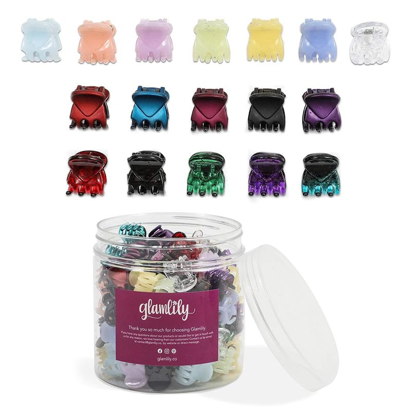 Small Claw Hair Clips with Storage Case, 17 Colors (100 Pieces)