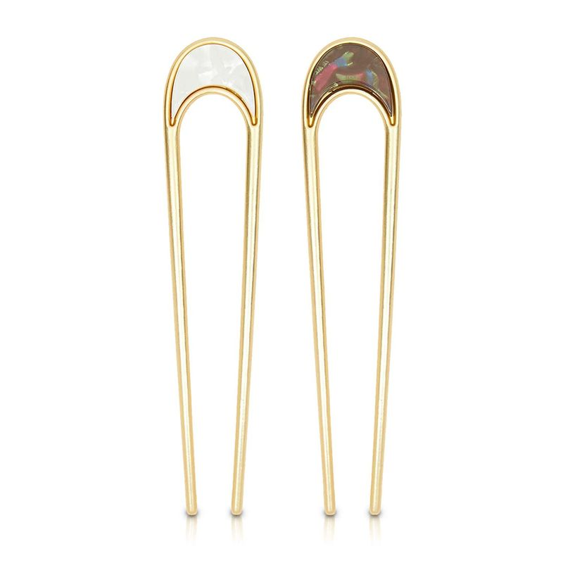Metal U Shaped Hair Pins, Moon Hair Accessories (2 Pack)