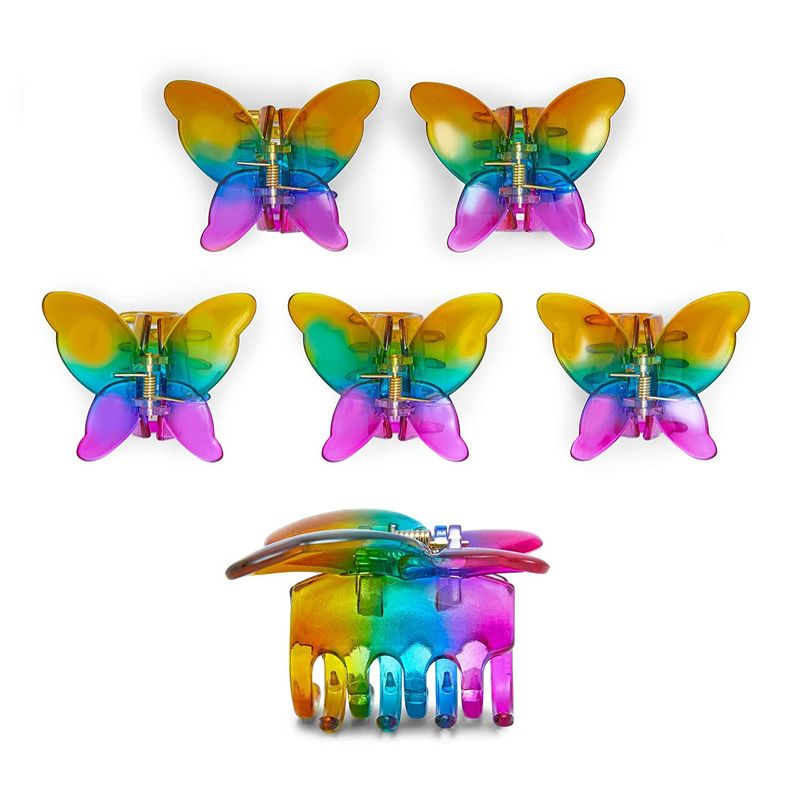 Butterfly Hair Clips for Women, Rainbow Claw Accessories (6 Pack)
