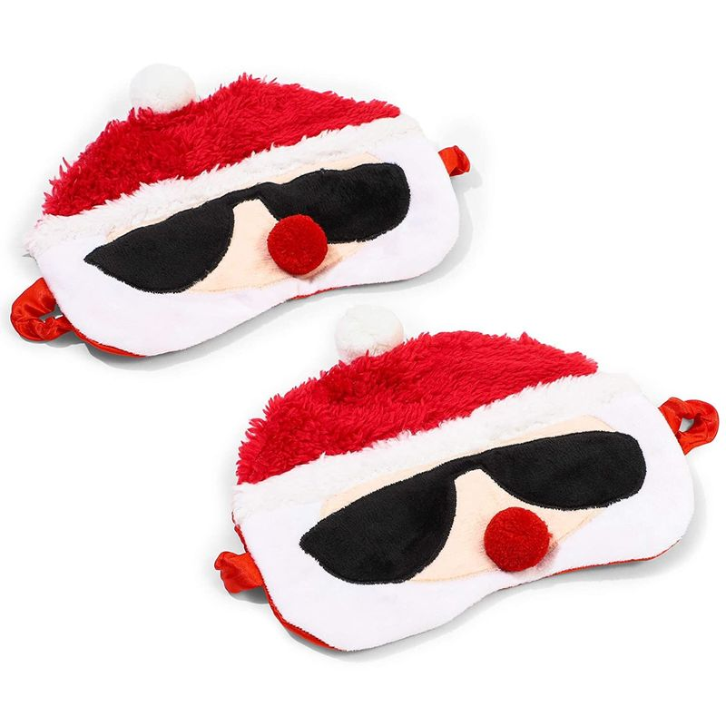 Santa Claus Sleep Mask for Kids, Women, Boys & Girls (7.5 x 6 In, 2 Pack)