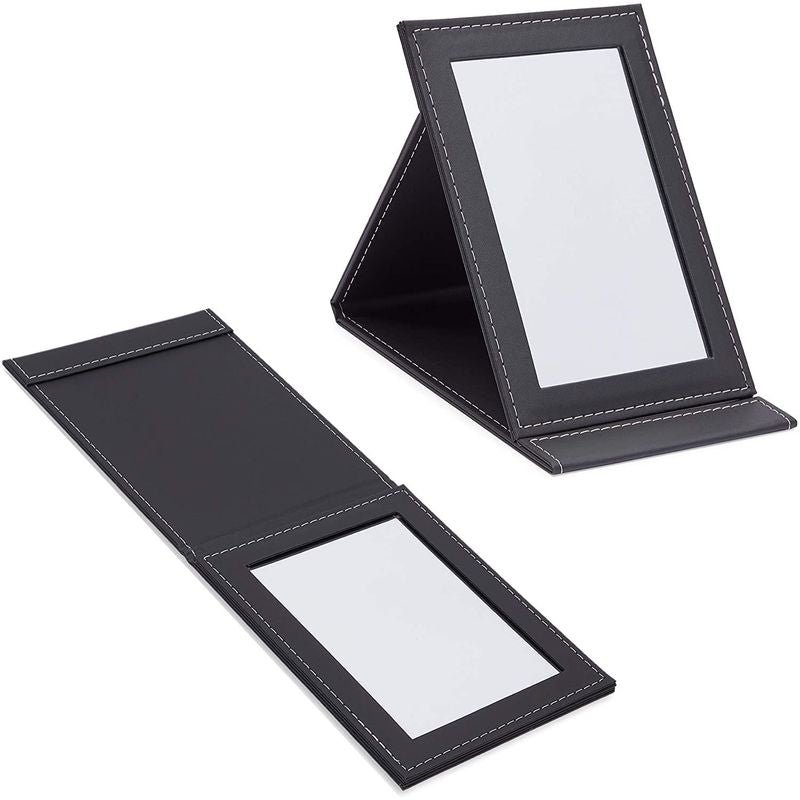 Folding Vanity Mirror with Stand for Makeup (2 Sizes, 2 Pack)